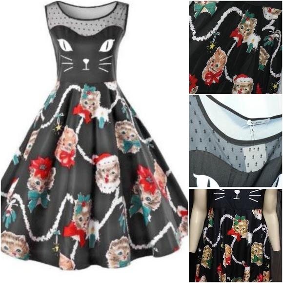 385250602e72 New Rockabilly Christmas Kitty Dress Retro XL Cat.  M_5a888832c9fcdfeb21f563fa
